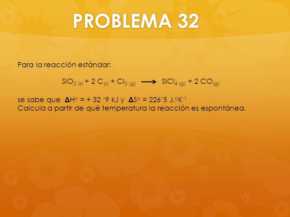 PROBLEMA 32 Para la reacción estándar: