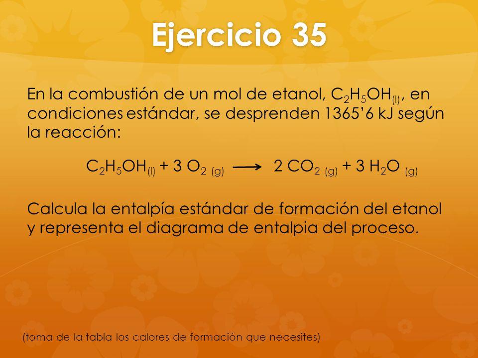 Ejercicio 35 En la combustión de un mol de etanol, C2H5OH(l), en condiciones estándar, se desprenden 1365'6 kJ según la reacción: