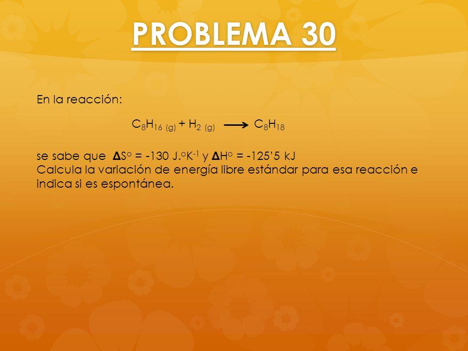 PROBLEMA 30 En la reacción: C8H16 (g) + H2 (g) C8H18