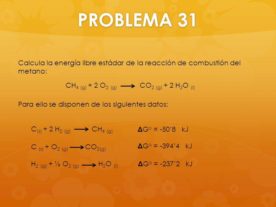 PROBLEMA 31 Calcula la energía libre estádar de la reacción de combustión del metano: Para ello se disponen de los siguientes datos: