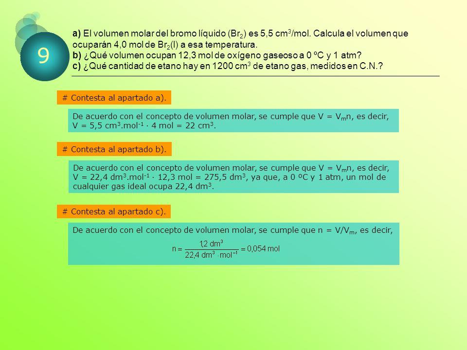 a) El volumen molar del bromo líquido (Br2) es 5,5 cm3/mol