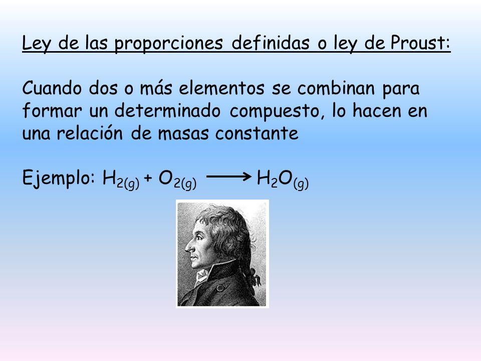 Ley de las proporciones definidas o ley de Proust: