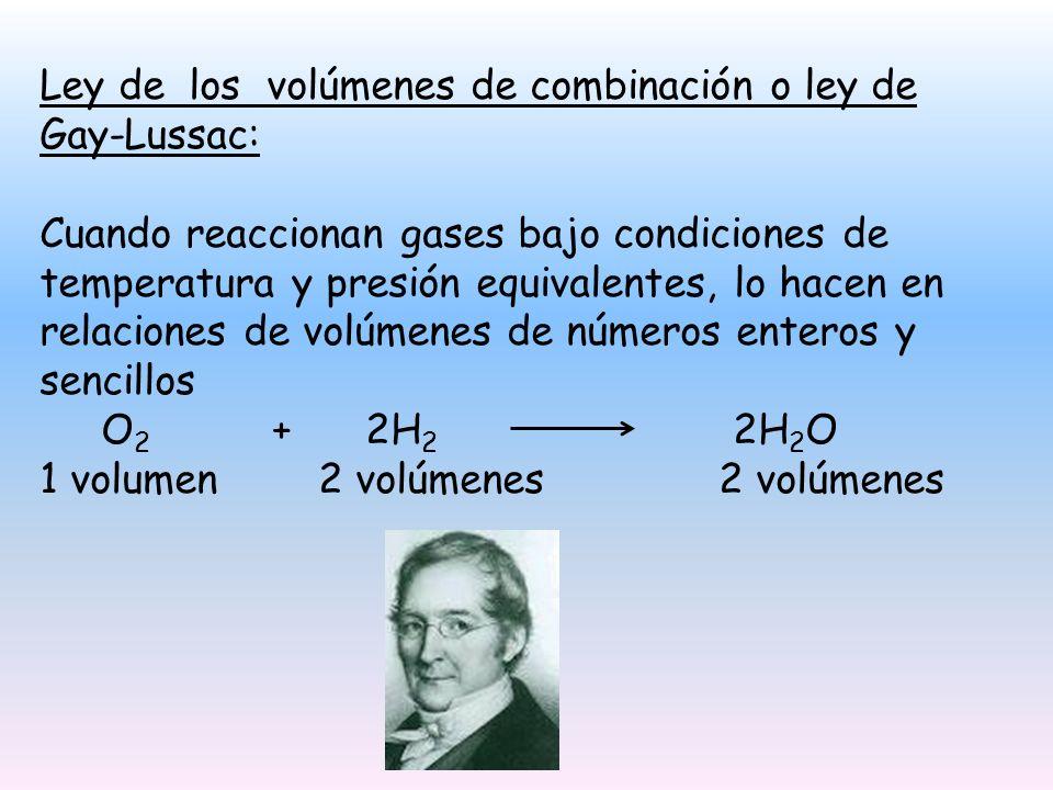 Ley de los volúmenes de combinación o ley de Gay-Lussac: