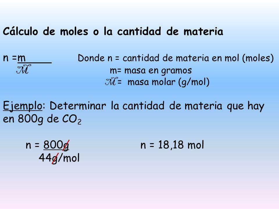 Cálculo de moles o la cantidad de materia