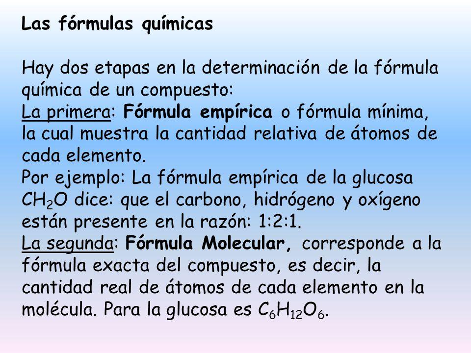 Las fórmulas químicas Hay dos etapas en la determinación de la fórmula química de un compuesto: