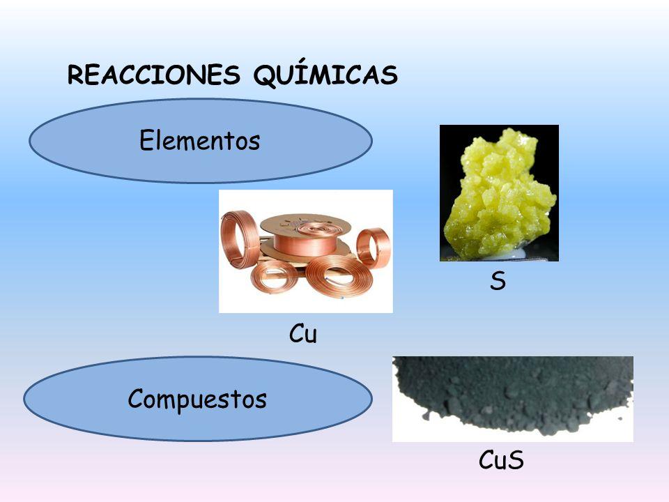 REACCIONES QUÍMICAS Elementos S Cu Compuestos CuS