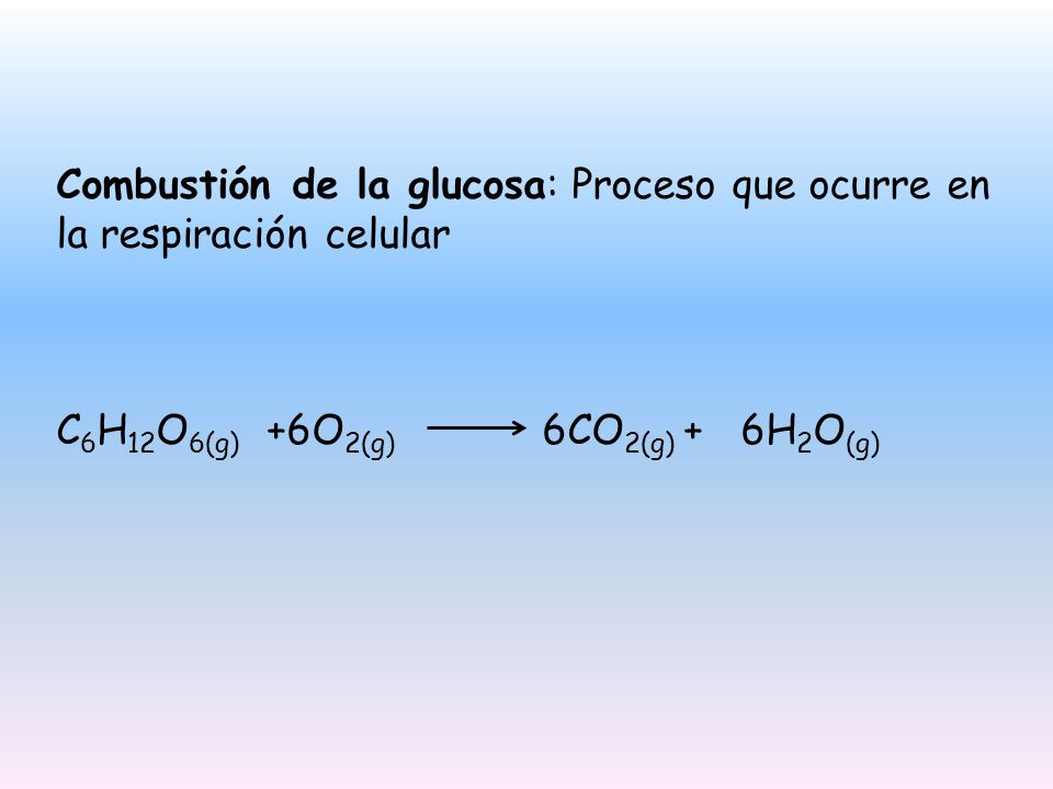 Combustión de la glucosa: Proceso que ocurre en la respiración celular