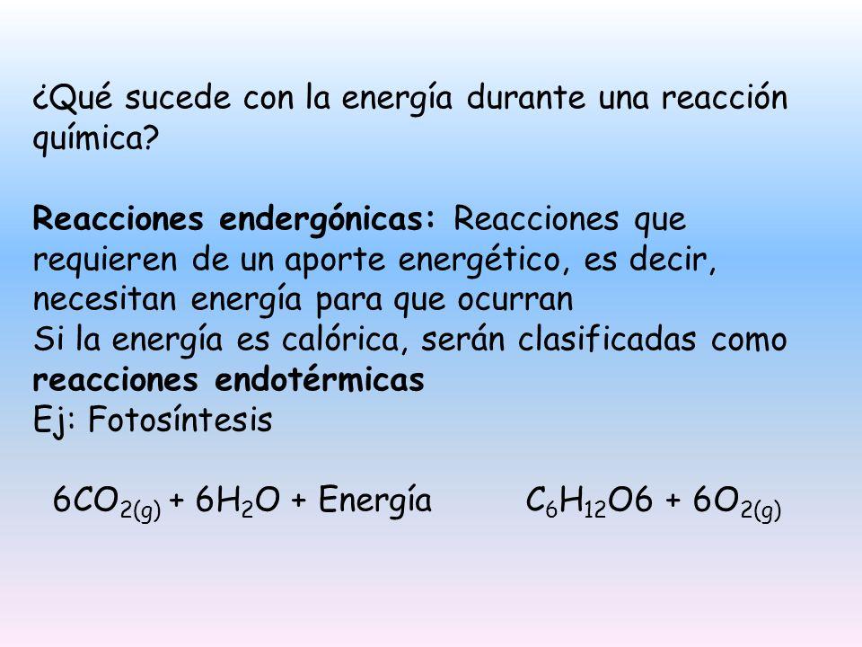 ¿Qué sucede con la energía durante una reacción química