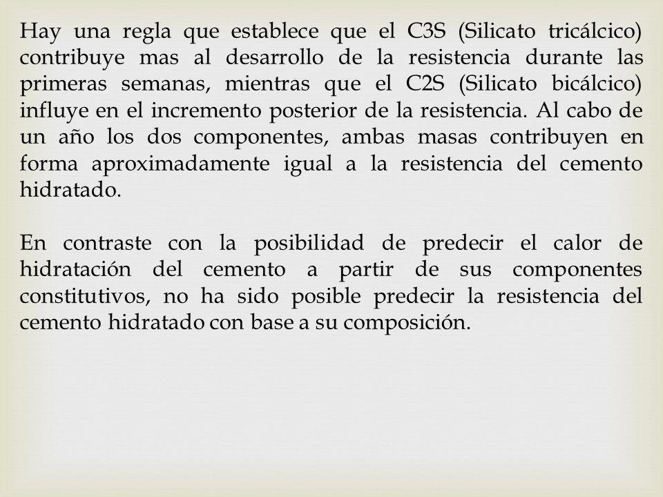 Hay una regla que establece que el C3S (Silicato tricálcico) contribuye mas al desarrollo de la resistencia durante las primeras semanas, mientras que el C2S (Silicato bicálcico) influye en el incremento posterior de la resistencia. Al cabo de un año los dos componentes, ambas masas contribuyen en forma aproximadamente igual a la resistencia del cemento hidratado.