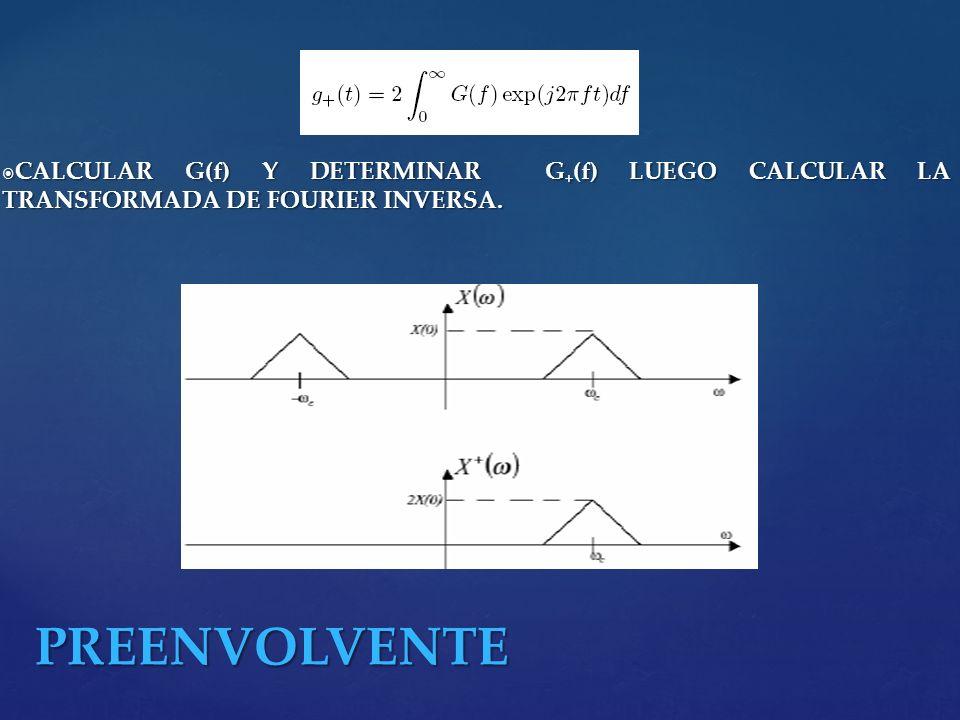 CALCULAR G(f) Y DETERMINAR G+(f) LUEGO CALCULAR LA TRANSFORMADA DE FOURIER INVERSA.