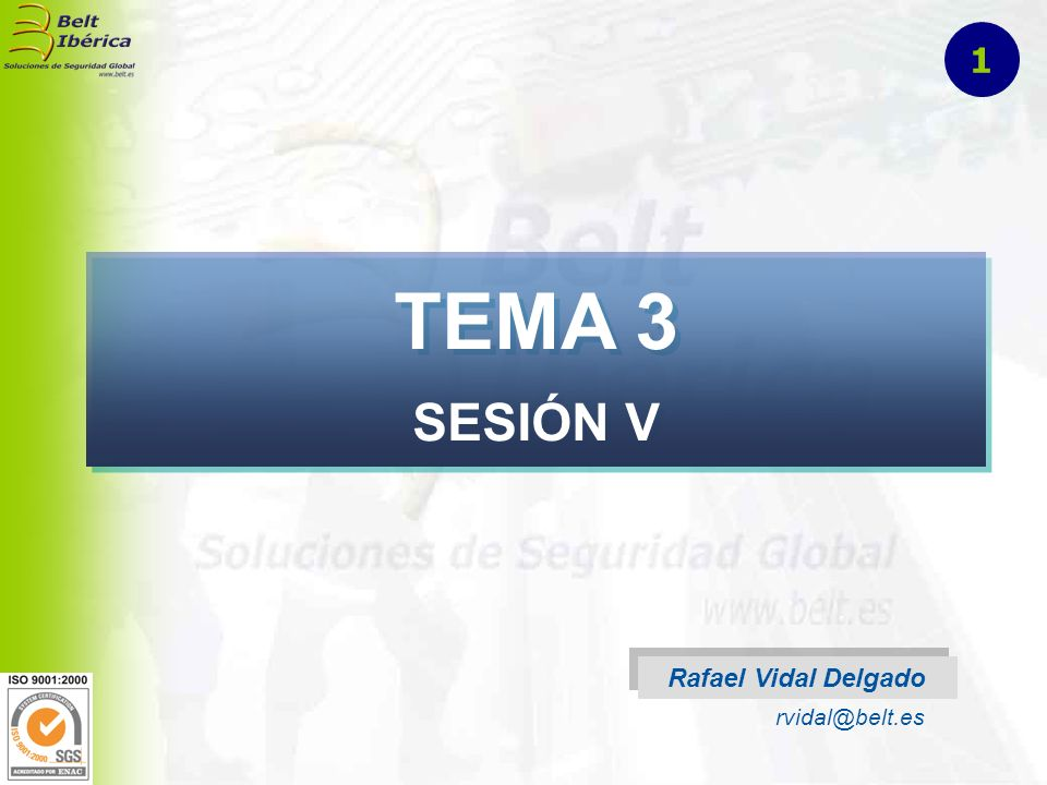 1 TEMA 3 SESIÓN V Rafael Vidal Delgado rvidal@belt.es