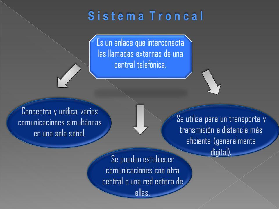 S i s t e m a T r o n c a l Es un enlace que interconecta las llamadas externas de una central telefónica.