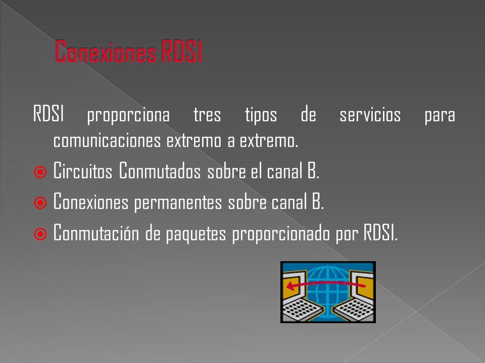 Conexiones RDSI RDSI proporciona tres tipos de servicios para comunicaciones extremo a extremo. Circuitos Conmutados sobre el canal B.