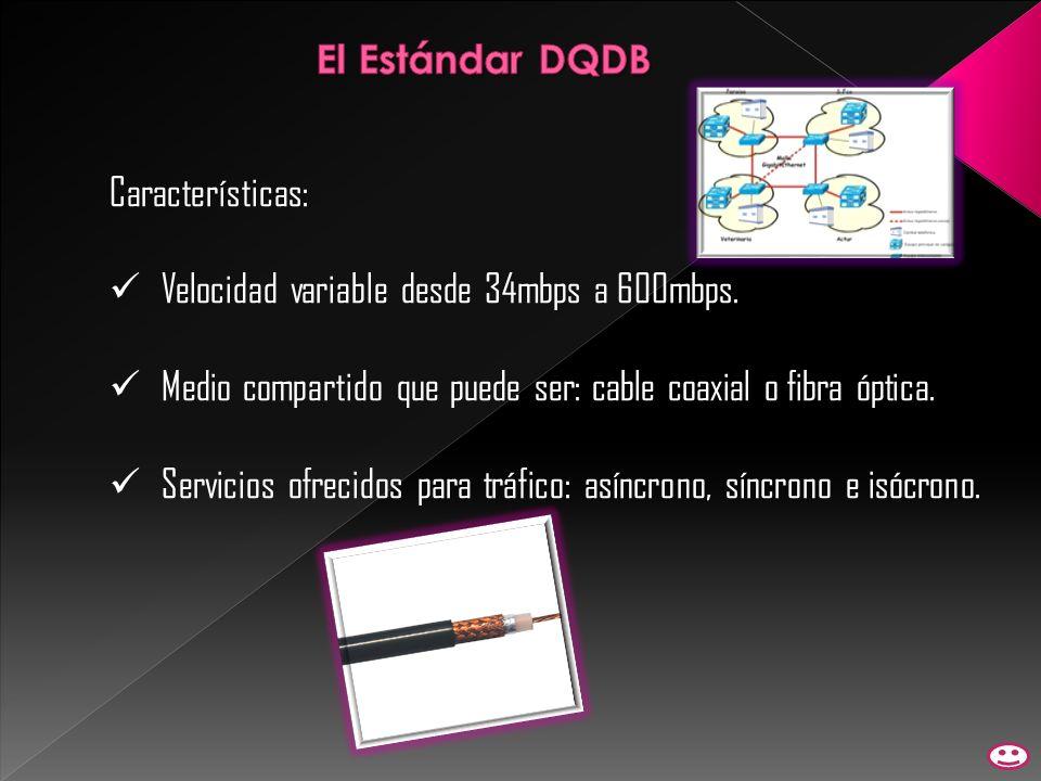 El Estándar DQDB Características: Velocidad variable desde 34mbps a 600mbps. Medio compartido que puede ser: cable coaxial o fibra óptica.