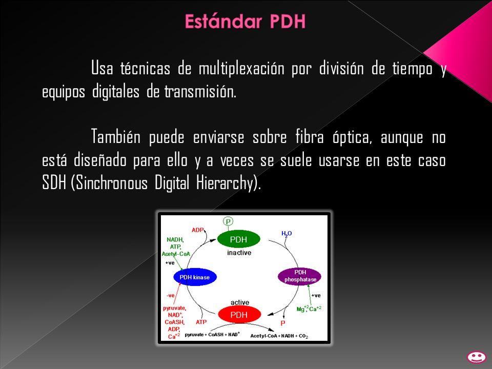 Estándar PDH Usa técnicas de multiplexación por división de tiempo y equipos digitales de transmisión.