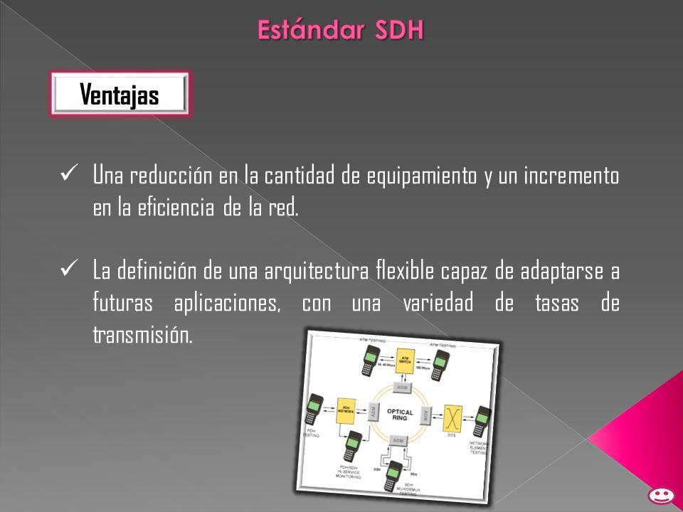 Estándar SDH Ventajas. Una reducción en la cantidad de equipamiento y un incremento en la eficiencia de la red.