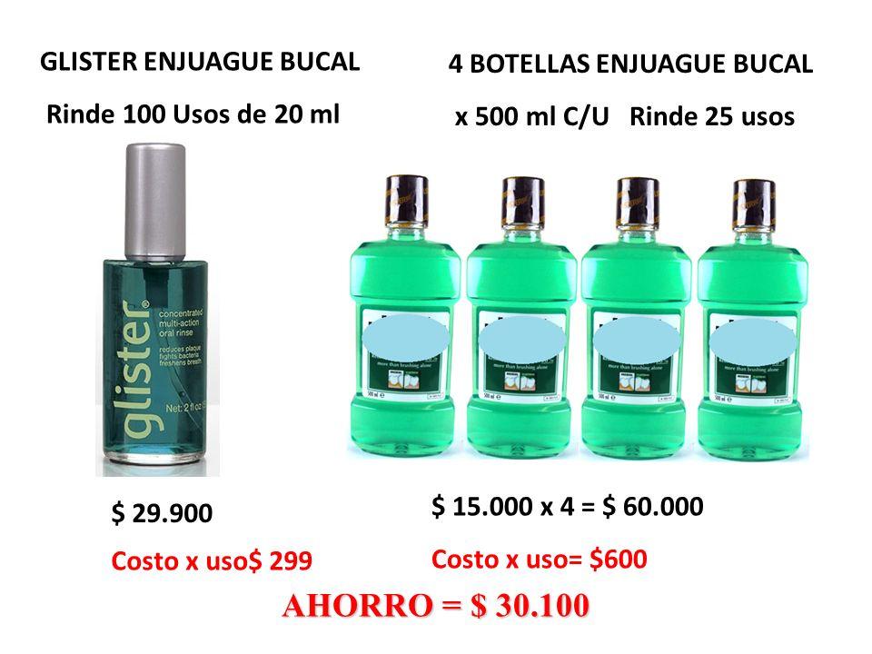 AHORRO = $ 30.100 GLISTER ENJUAGUE BUCAL 4 BOTELLAS ENJUAGUE BUCAL