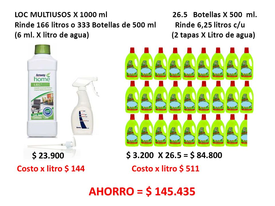 LOC MULTIUSOS X 1000 ml 26. 5 Botellas X 500 ml