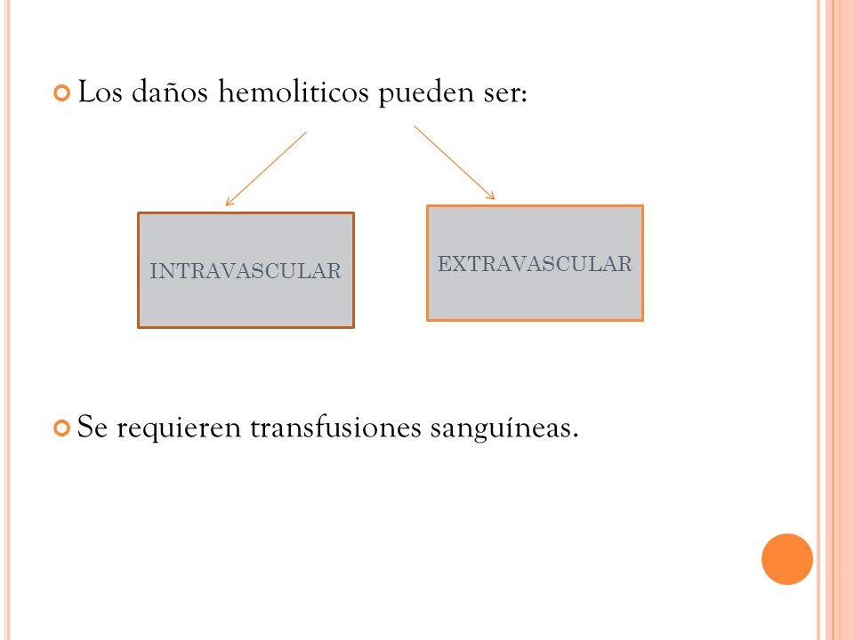 Los daños hemoliticos pueden ser: