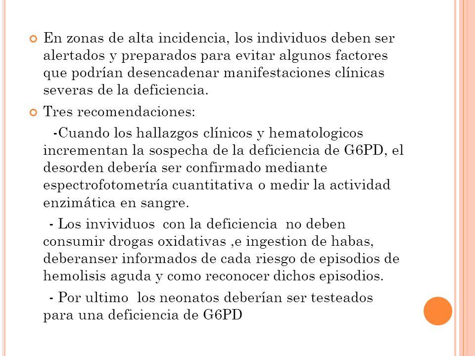 En zonas de alta incidencia, los individuos deben ser alertados y preparados para evitar algunos factores que podrían desencadenar manifestaciones clínicas severas de la deficiencia.