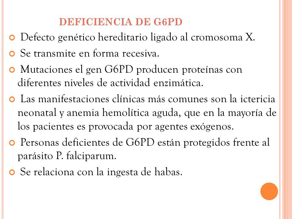 Defecto genético hereditario ligado al cromosoma X.