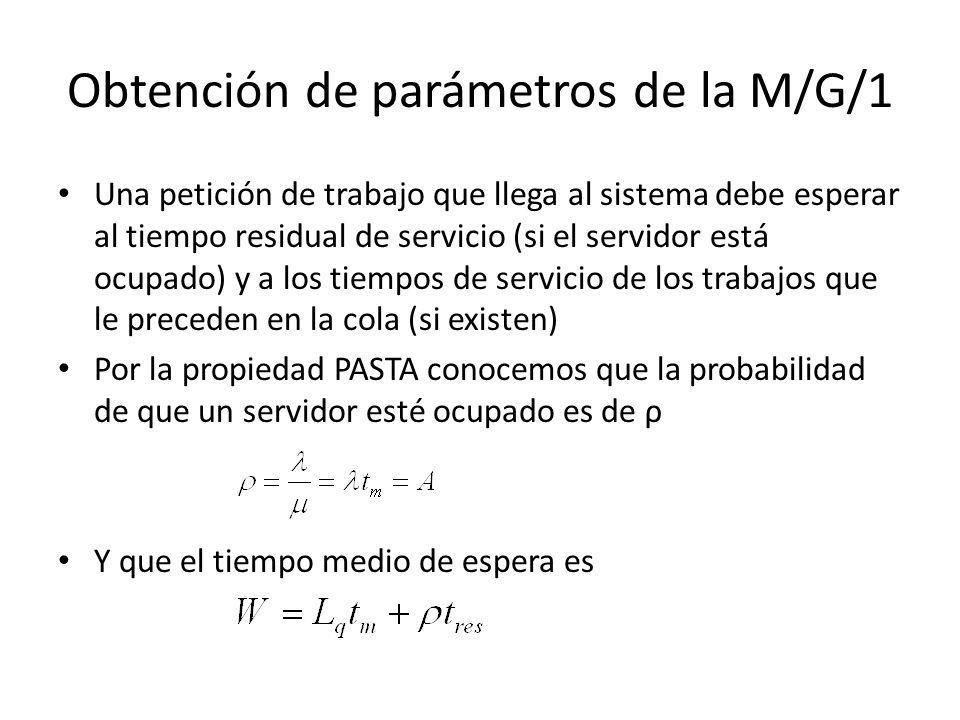 Obtención de parámetros de la M/G/1