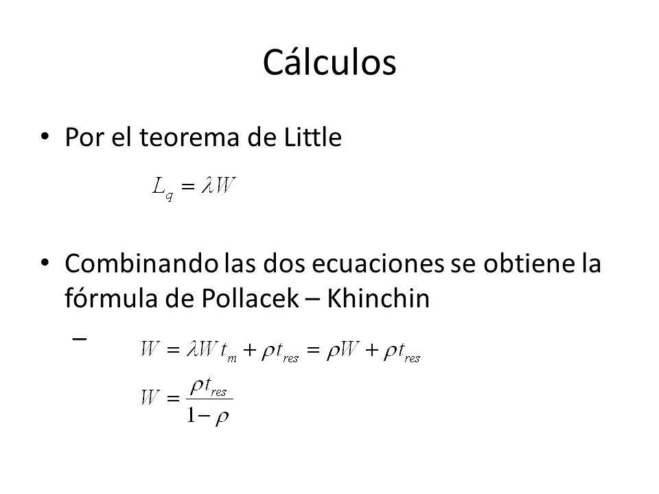 Cálculos Por el teorema de Little