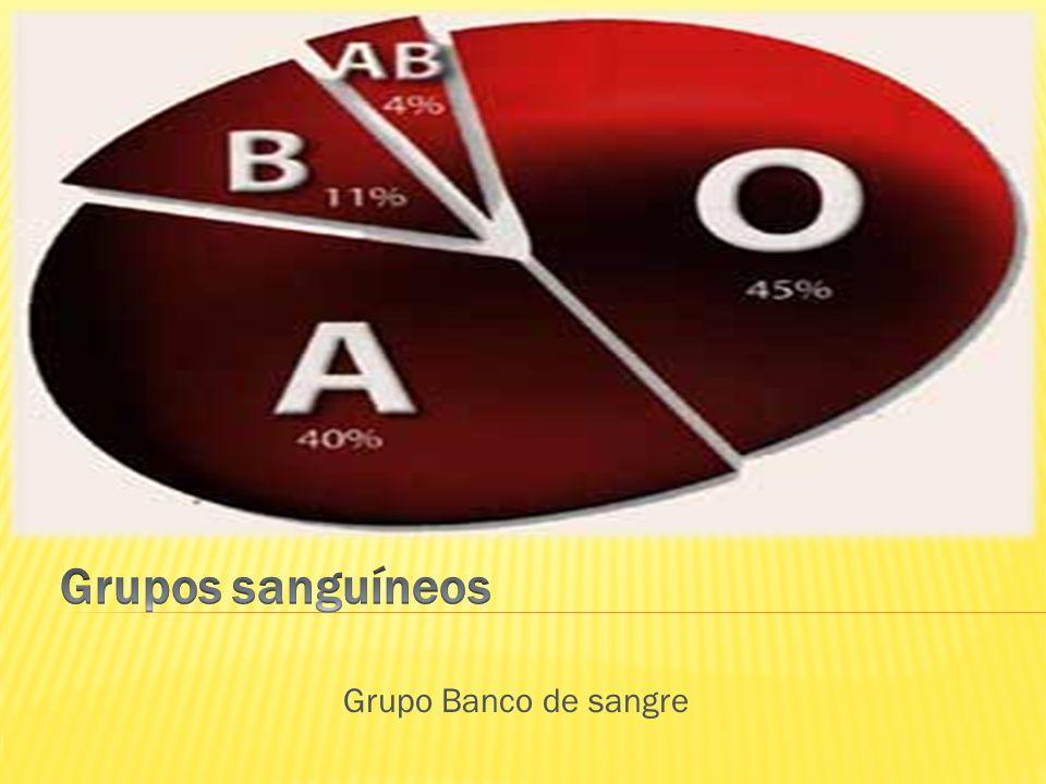 Grupos sanguíneos Grupo Banco de sangre