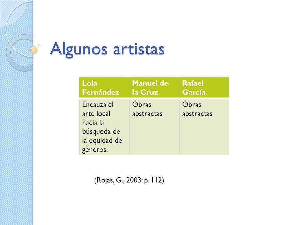 Algunos artistas Lola Fernández Manuel de la Cruz Rafael García