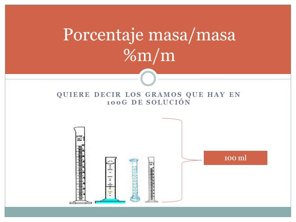 Porcentaje masa/masa %m/m