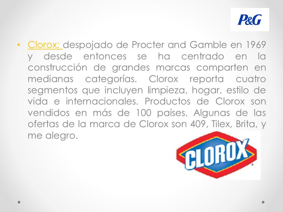 Clorox: despojado de Procter and Gamble en 1969 y desde entonces se ha centrado en la construcción de grandes marcas comparten en medianas categorías.