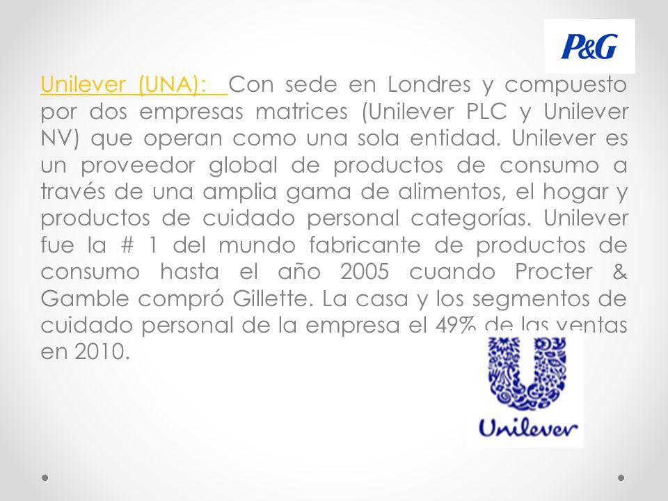 Unilever (UNA): Con sede en Londres y compuesto por dos empresas matrices (Unilever PLC y Unilever NV) que operan como una sola entidad.