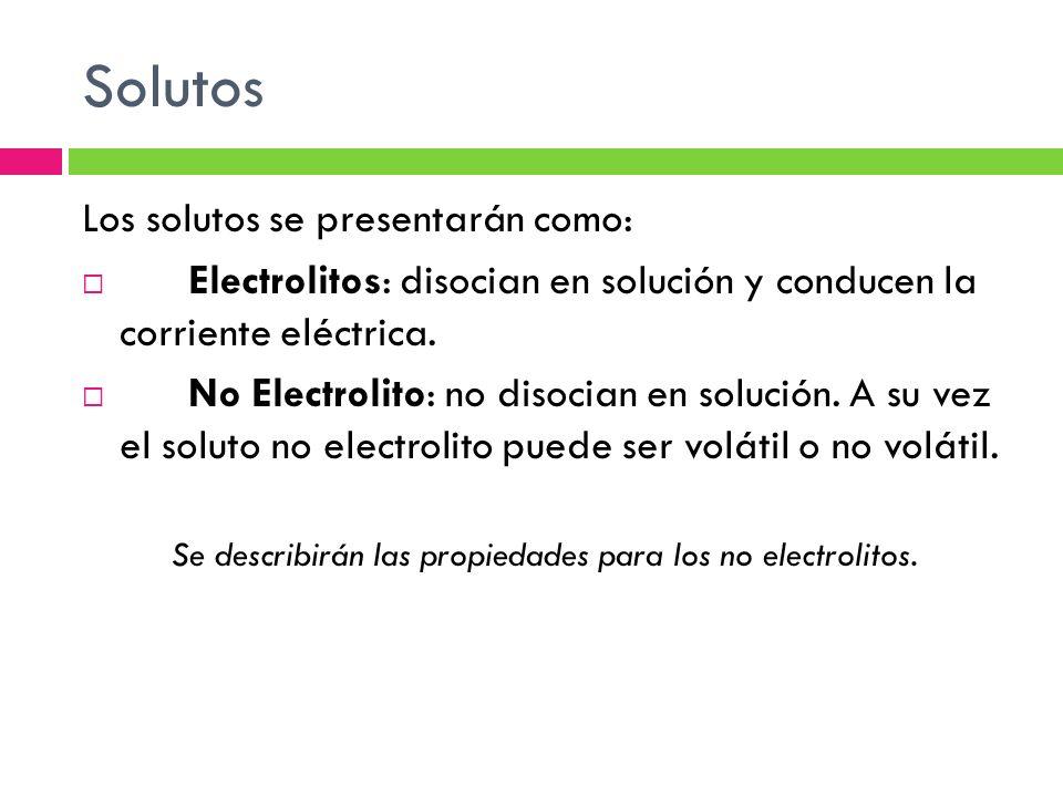 Se describirán las propiedades para los no electrolitos.