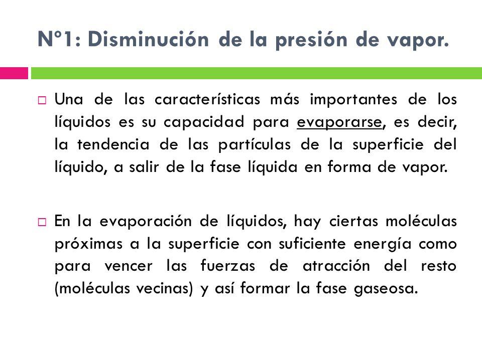 Nº1: Disminución de la presión de vapor.