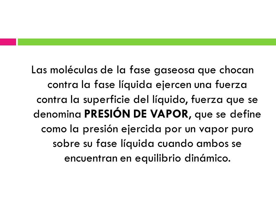 Las moléculas de la fase gaseosa que chocan contra la fase líquida ejercen una fuerza contra la superficie del líquido, fuerza que se denomina PRESIÓN DE VAPOR, que se define como la presión ejercida por un vapor puro sobre su fase líquida cuando ambos se encuentran en equilibrio dinámico.