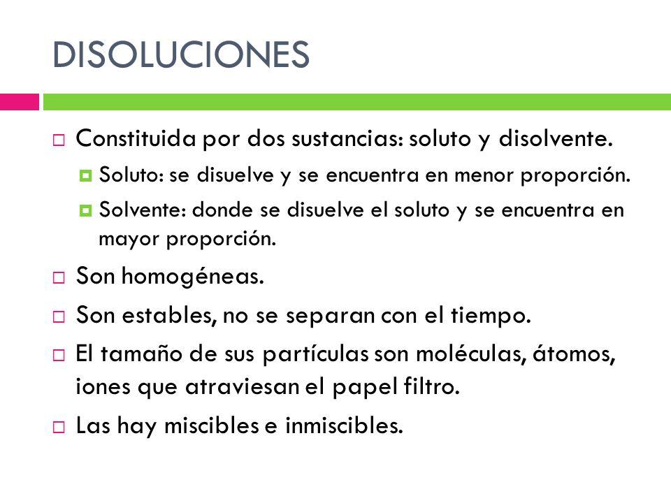 DISOLUCIONES Constituida por dos sustancias: soluto y disolvente.