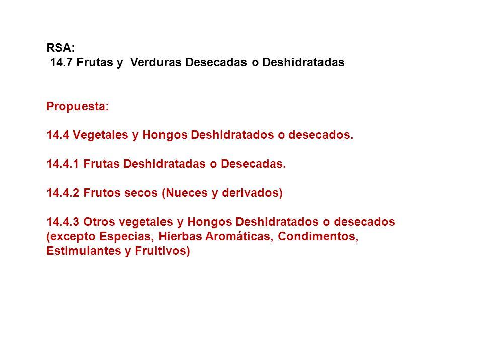 RSA: 14.7 Frutas y Verduras Desecadas o Deshidratadas. Propuesta: 14.4 Vegetales y Hongos Deshidratados o desecados.
