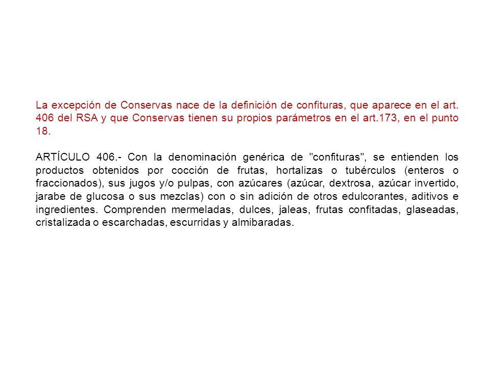 La excepción de Conservas nace de la definición de confituras, que aparece en el art. 406 del RSA y que Conservas tienen su propios parámetros en el art.173, en el punto 18.