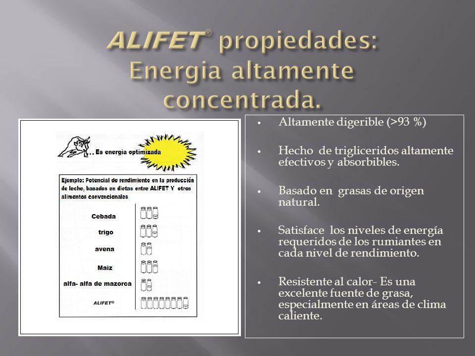 ALIFET® propiedades: Energia altamente concentrada.