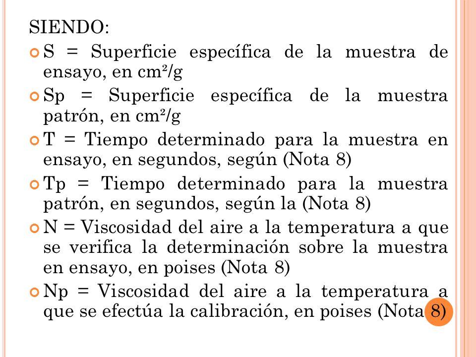 SIENDO: S = Superficie específica de la muestra de ensayo, en cm²/g. Sp = Superficie específica de la muestra patrón, en cm²/g.