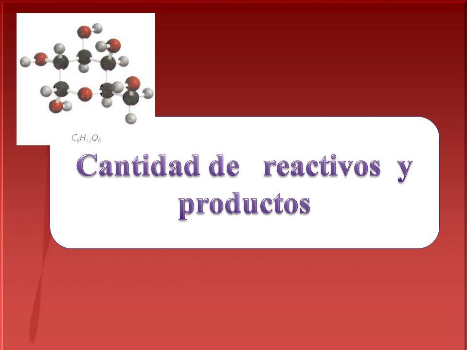 Cantidad de reactivos y productos