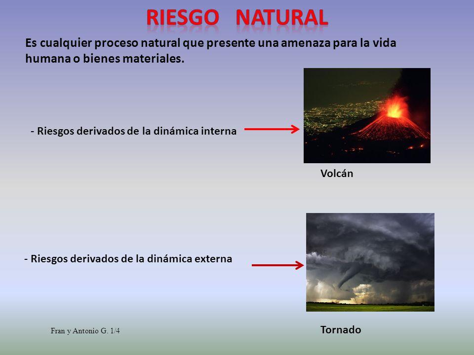 Riesgo NaturalEs cualquier proceso natural que presente una amenaza para la vida humana o bienes materiales.