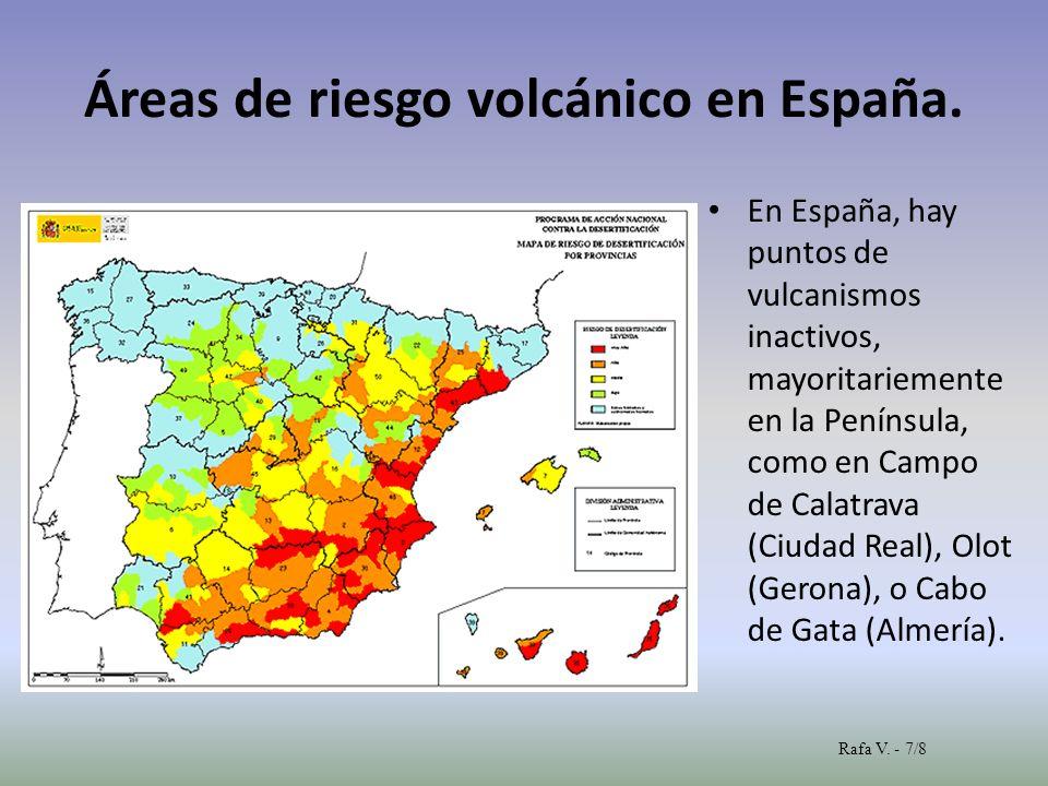 Áreas de riesgo volcánico en España.