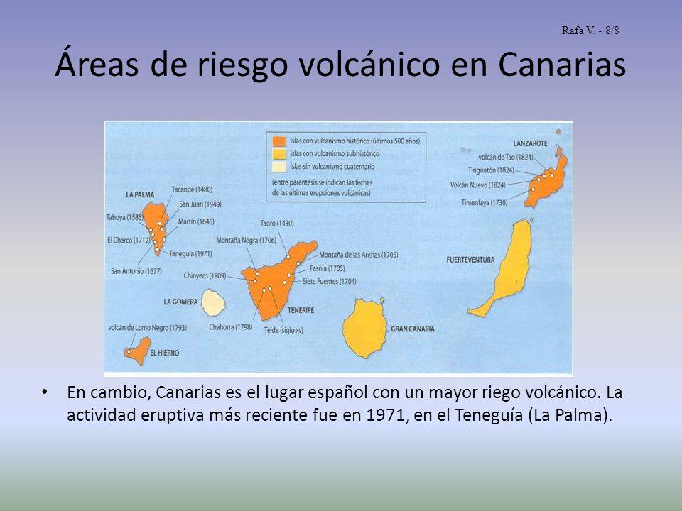 Áreas de riesgo volcánico en Canarias