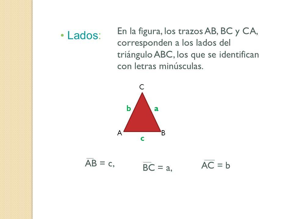 En la figura, los trazos AB, BC y CA, corresponden a los lados del triángulo ABC, los que se identifican con letras minúsculas.