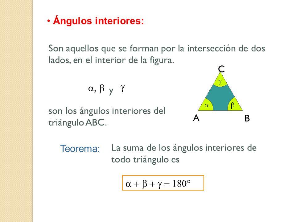 Ángulos interiores: Son aquellos que se forman por la intersección de dos lados, en el interior de la figura.