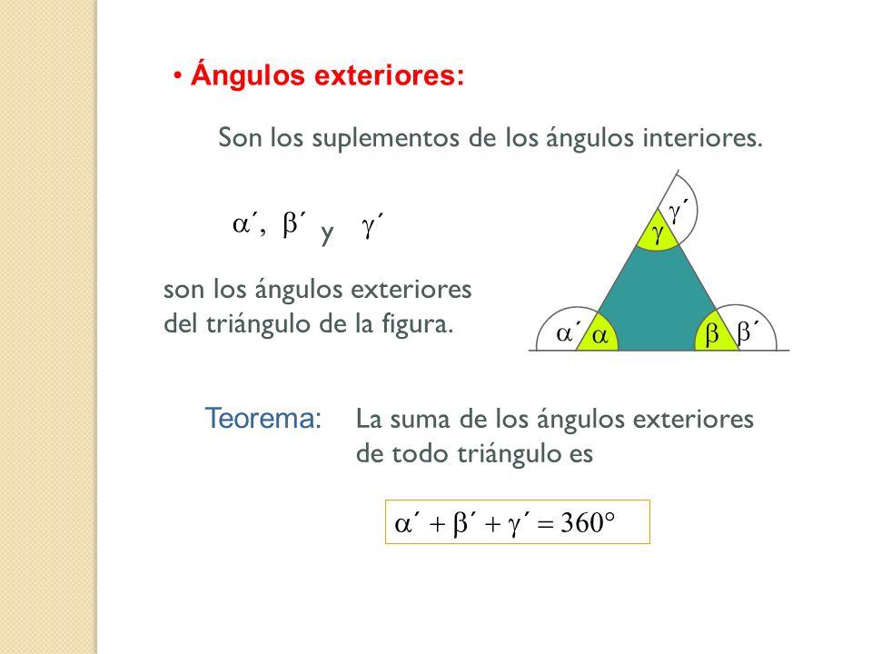 Ángulos exteriores: Son los suplementos de los ángulos interiores. a´, b´ g´ y. son los ángulos exteriores del triángulo de la figura.