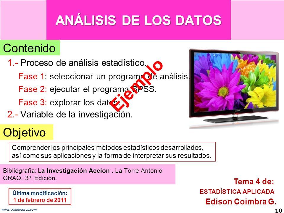Ejemplo ANÁLISIS DE LOS DATOS Contenido Objetivo