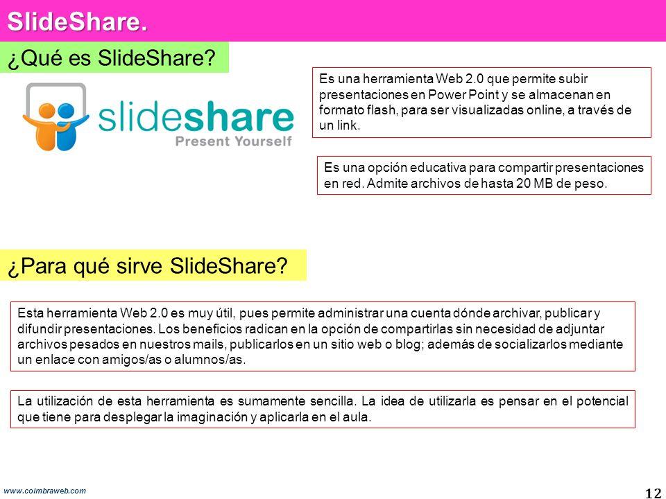 SlideShare. ¿Qué es SlideShare ¿Para qué sirve SlideShare 12