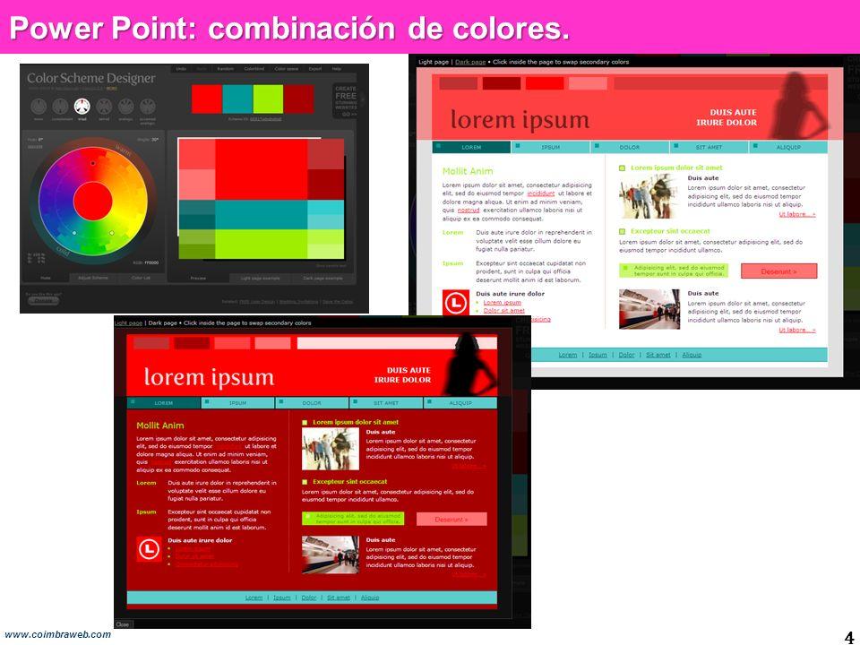 Power Point: combinación de colores.